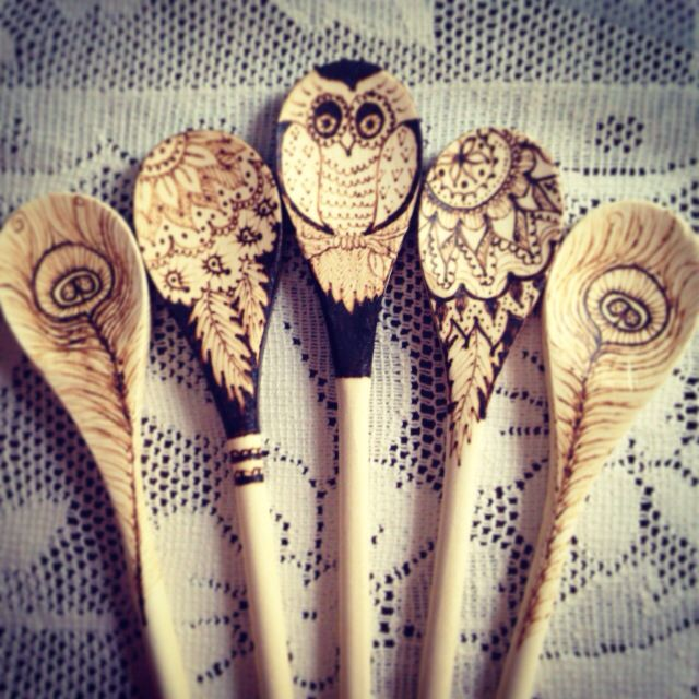 Wooden spoon pyrography