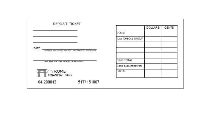 This is an image of Printable Deposit Slips within checkbook