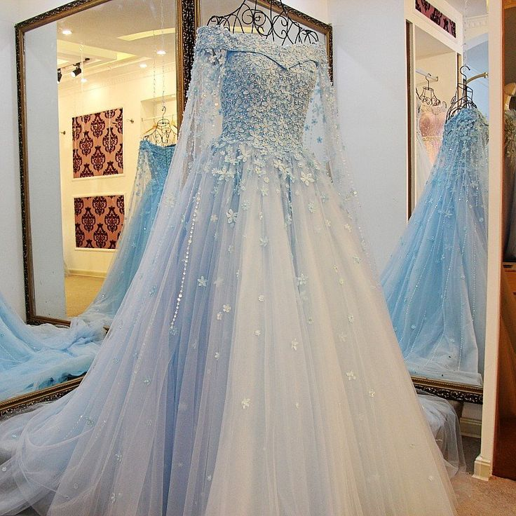 Tiffany Blue / Ivory Lace Lace Off The Shoulder Wedding Dresses