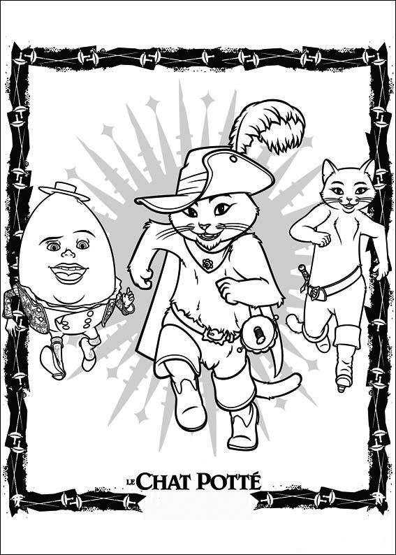 Disegni da colorare per bambini. Colorare e stampa Il gatto con gli stivali 2