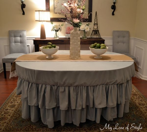 DIY No Sew Tiered Ruffle Tablecloth {Tutorial} - LOVE this!