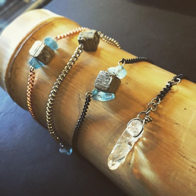 Delicate stone bracelets from @madeformargaret. Raw cubes of pyrite, aquamarine and clear quarts adds a unique earthen sparkle to your outfit. #shopwinnipeg #winnipeg #osbornevillage #wpg360