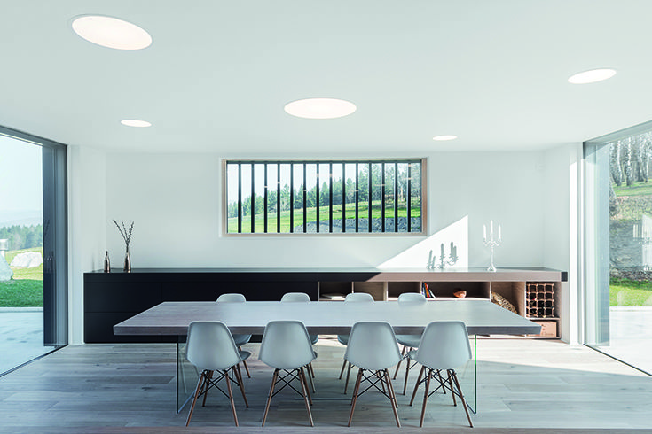 Dining room lighting in House M, Slovenia. Luminaires: #Intralighting Architecture: SoNo Architects.