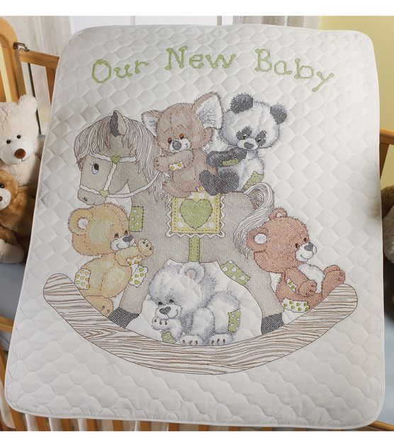 Bucilla Crib Cover Stamped Cross Stitch Kit Rocking Horse