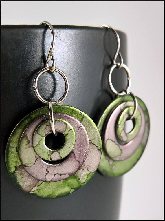 Camo Earrings Alcohol Ink Hypoallergenic Option Washer