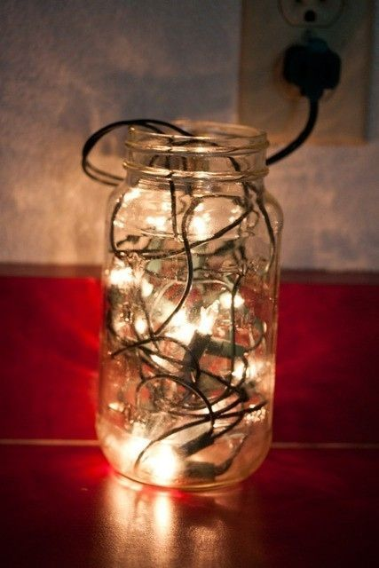 Mason Jar Lighthouse.  Fill a mason jar with a string of Christmas lights and, VOILA!, you have an amazing nightlight for the kitchen or living room and not bad looking too.