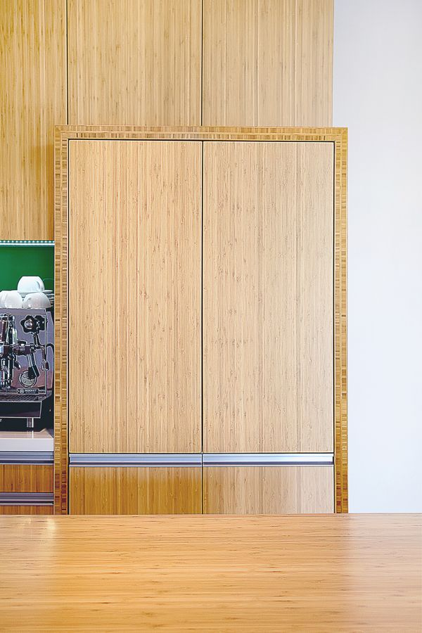 These bamboo cupboards and work-top are finished beautifully in a light shade.