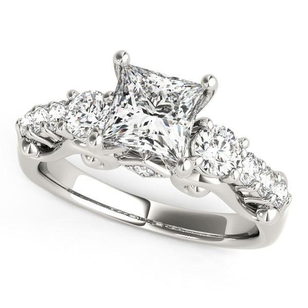 14K White Gold 3 Stone Princess Cut Antique Design Diamond Engagement Ring (1 3/4 ct. tw.)