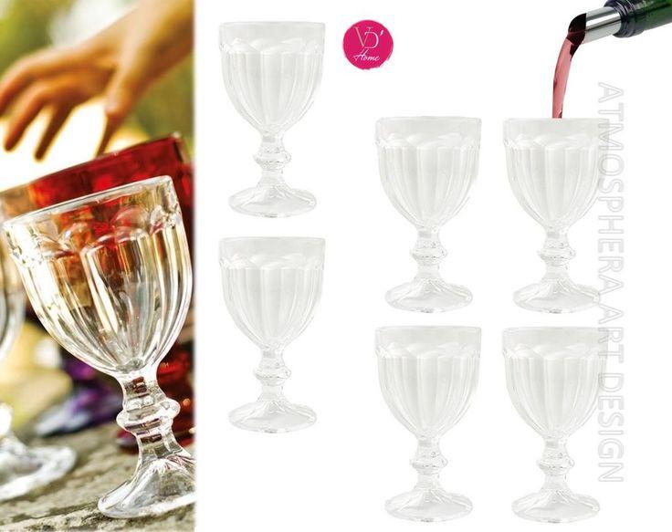 VILLA D'ESTE HOME Set 6 Bicchieri Calici Vino CHATEAU in vetro trasparente