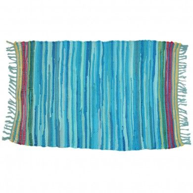 Mediterranean Turquoise Rag Rug