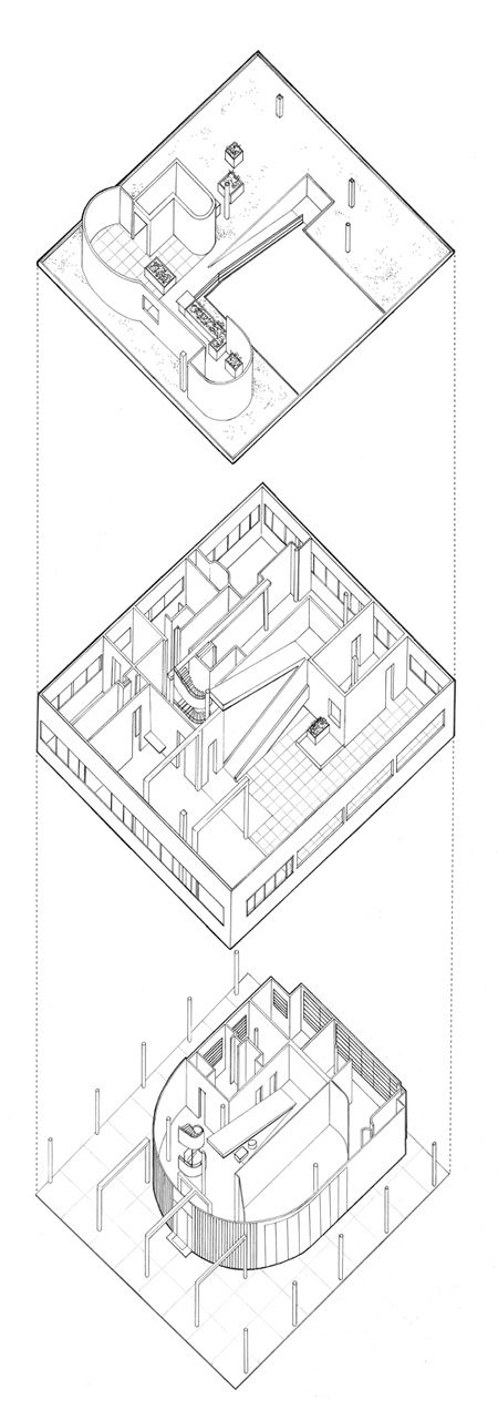 *Le Corbusier. Villa Savoye. 1929-31. Axonometric diagram showing movement through space. This building exemplifies his 5 famous principles of modernist architecture.