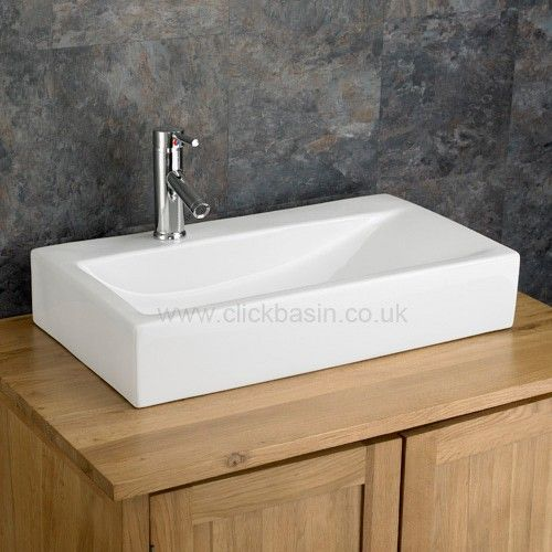 Click Basin - Altomura 66cm x 38cm Countertop Rectangular White Basin £109 free p&P