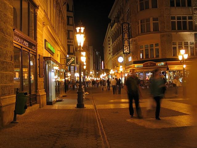 Vaci Utca on a Saturday night, Budapest, Hungary