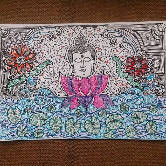 'Buddha and Lotus' is up for sale as merchandise on @postergully @cupick @paintcollar  #art #artwork #illustration #sketch #drawing #buddha #lotus #enlightenment #peace #penart #lineart #originalart #originalartwork #conceptart #abstractart #intricateart #intricate #line #nature #flowers #artist #artistoninstagram #forsale #onlineshopping #merchandise #india #artbyamulya #postergully #cupick #paintcollar