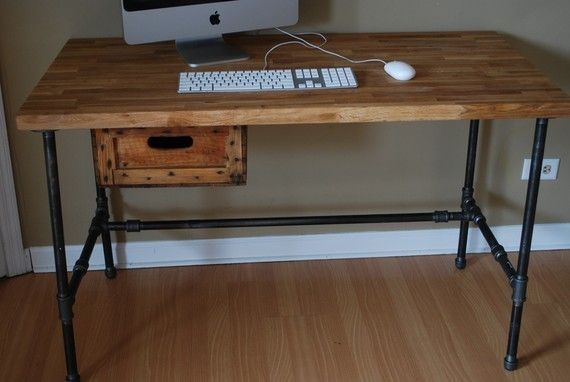 Industrial Modern Steel pipe and Oak desk with Vintage Atlas Explosives Crate…