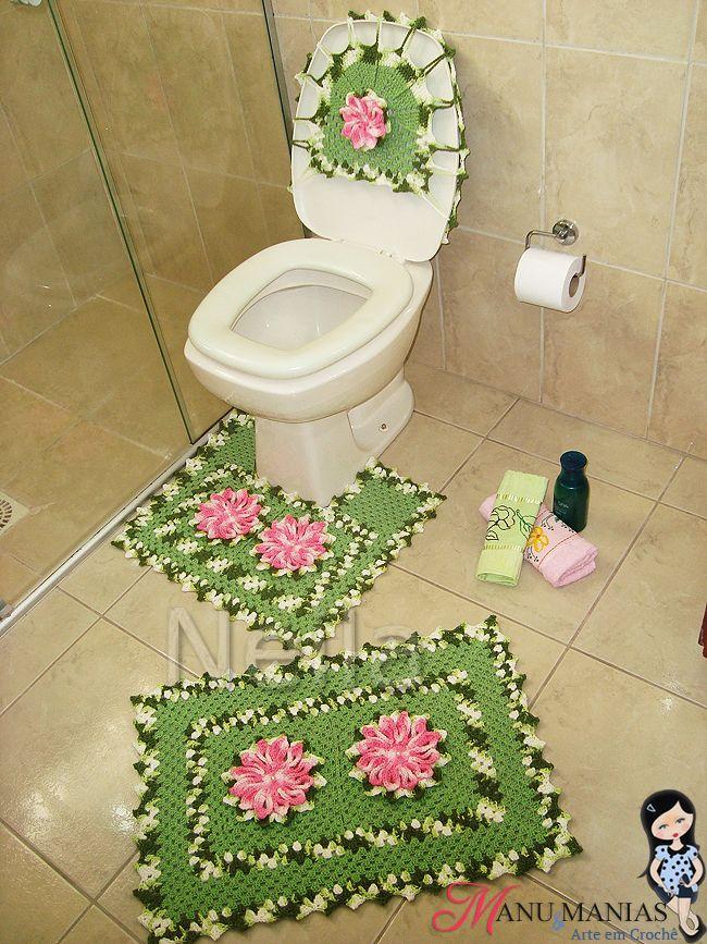 Jogo de Banheiro Verde e Rosa