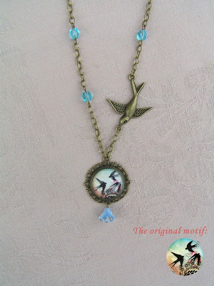 Only one swallow can make summer  --    The first swallows arrived to us, on that occasion I made this lovely necklace.  The lot of bronze has been complemented by some bright-blue glass beads and glass flower which are in harmony with the colors of the motif.   The diameter of the pendant: 3 cm,  The bronze swallow is 3.5 cmm long and 3 cm wide.  Total length of necklace: 55 cm.