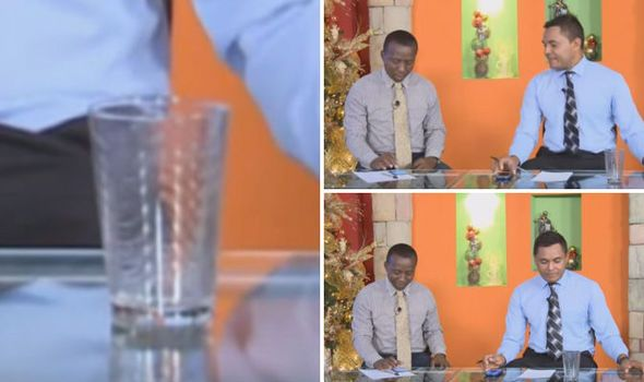Video: TV presenter is stunned when a glass of water moves by itself live on tv | World | News | Daily Express