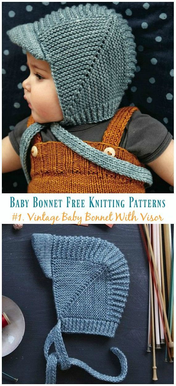 Vintage Baby Bonnet with Visor knitting clear pattern