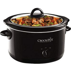 Crock-Pot 4-Quart Slow Cooker, Black, $16. Model: SCR400-B. Dishwasher safe removable stoneware and lid. walmart.