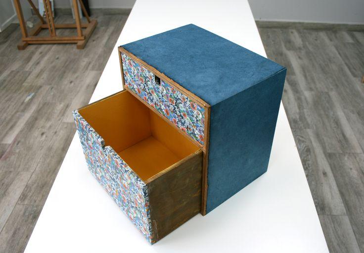 Trabajo en manualidades de Eva. Restauración con chalkpaint y papel japonés