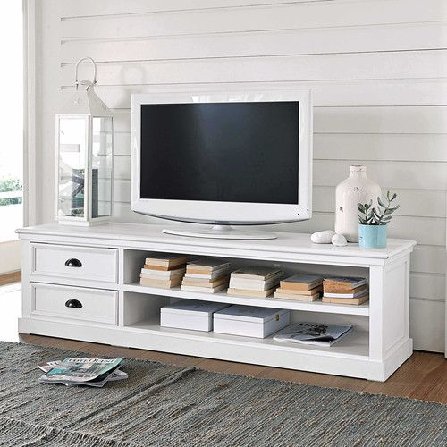 Wooden TV unit, white W 160cm