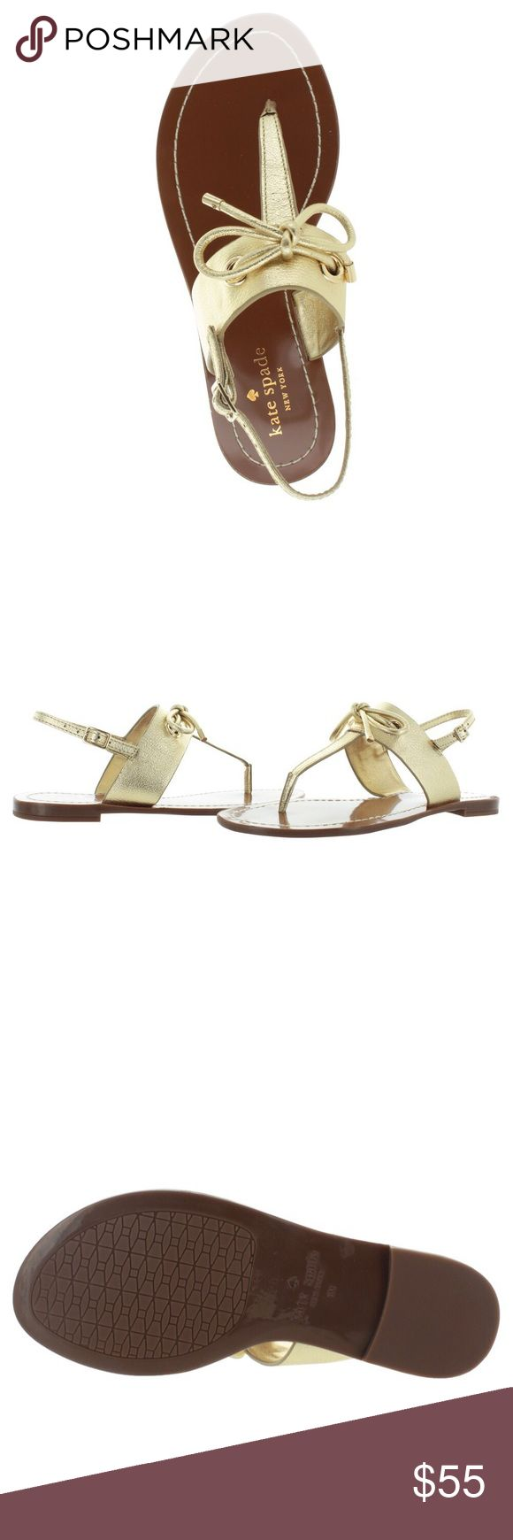 New Kate Spade Gold Carolina Leather Sandals Kate Spade Gold Genuine Leather Carolina T Strap Sandals •New without box •Size 6.5 •Retails for $128  Check out my other listings- Nike, adidas, Michael Kors, Kate Spade, Miss Me, Coach, Wildfox, Victoria's Secret, PINK, Under Armour, True Religion, Ugg Australia, Free People and more! kate spade Shoes Sandals