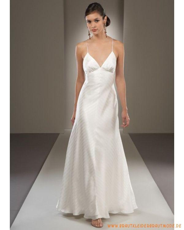 Günstiges Brautkleid aus Satin V-Ausschnitt Kolumne
