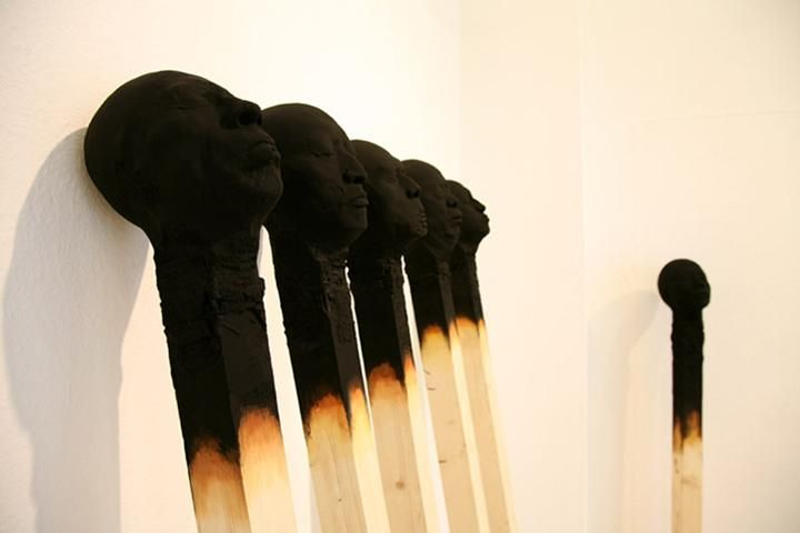 Giant Matchsticks as a Human Faces - installation by Wolfgang Stiller | Just Imagine - Daily Dose of Creativity