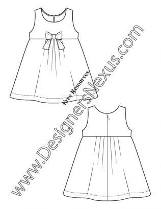 016 kids illustrator fashion flat sketch toddler infant dress free download at designersnexus - Kids Sketches