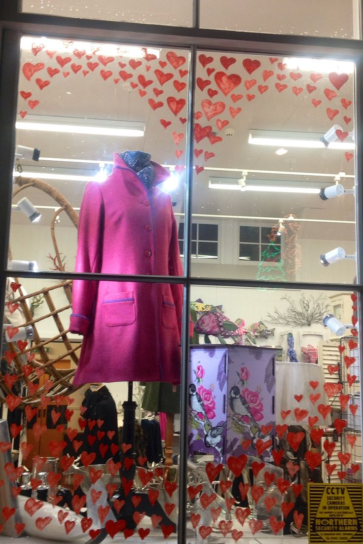 A simple, but beautiful, Valentine window display at The Old School Beauly in The Highlands.