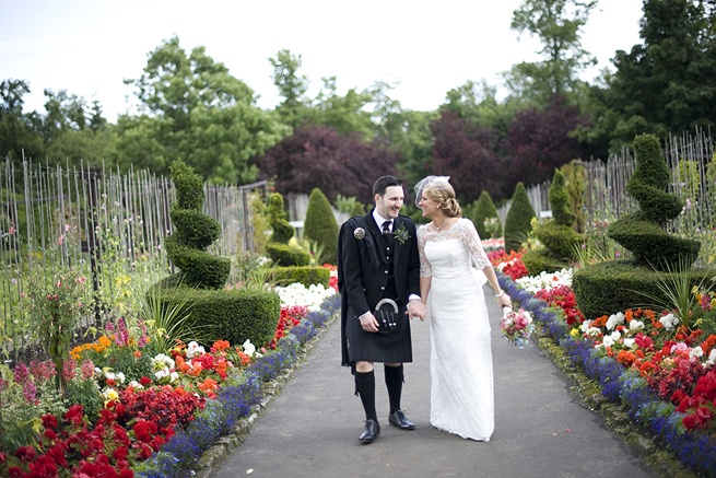 Bride and Groom - Kilt and lace wedding dress <3