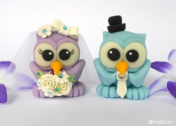 Owl cake topper love birds for wedding with by PerlillaPets, $65.00.