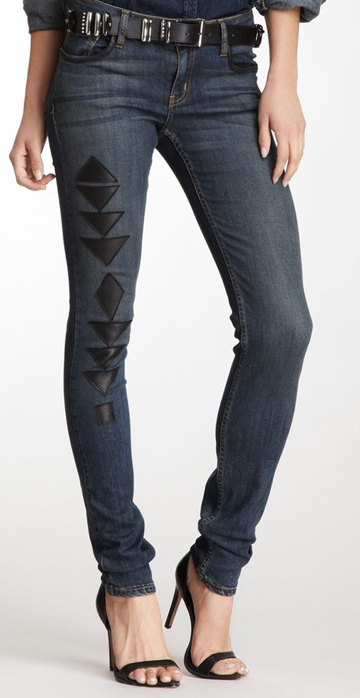 Leather Patch Jean no heals just layered tops