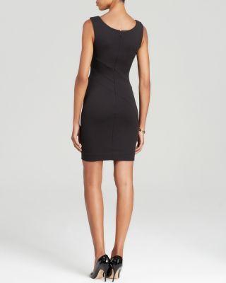Three Dots Sleeveless V-Neck Ponte Dress - Black 1
