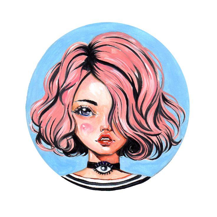"""Pink Hair""  2016 gouache painting by Olivia Au @oliviaumeiwa #pinkhair #fashionart #fashionportrait #art #eye"