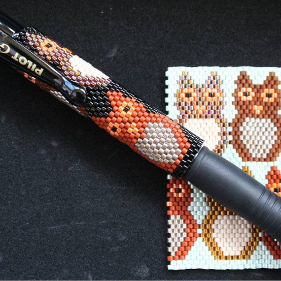 Hey, I found this really awesome Etsy listing at https://www.etsy.com/uk/listing/469568005/bright-owls-even-count-peyote-pen-cover