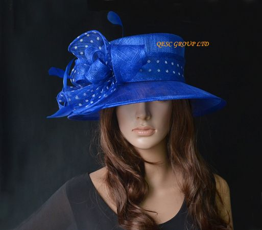 royal blue/white polka dot Sinamay Hat dress hat for Ascot Races,Melbourne Cup,kentucky derby.wedding church.