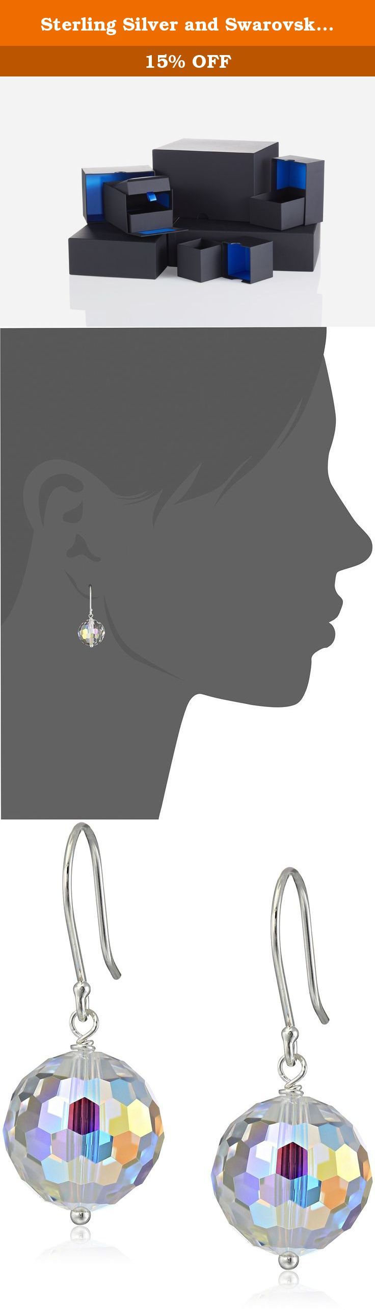 Sterling Silver and Swarovski Elements Crystal Aurora Borealis Drop Earrings. The Swarovski Elements Crystal Round Drop Earrings will make you want to go out dancing every night. The clear round faceted crystal beads feature a rainbow aurora borealis coating for ultimate colorful glitter. Measuring 12 millimeters across, the beads make bold yet graceful earrings with a modest 1.25-inch drop and a retro disco-ball effect. They hang from 925 sterling silver fishhook ear wires that…