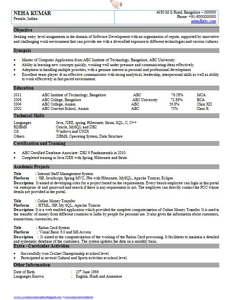 Resume Format For Bca Freshers Professional Curriculum Vitae / Resume  Template Sample Template Of .  Us Resume Format