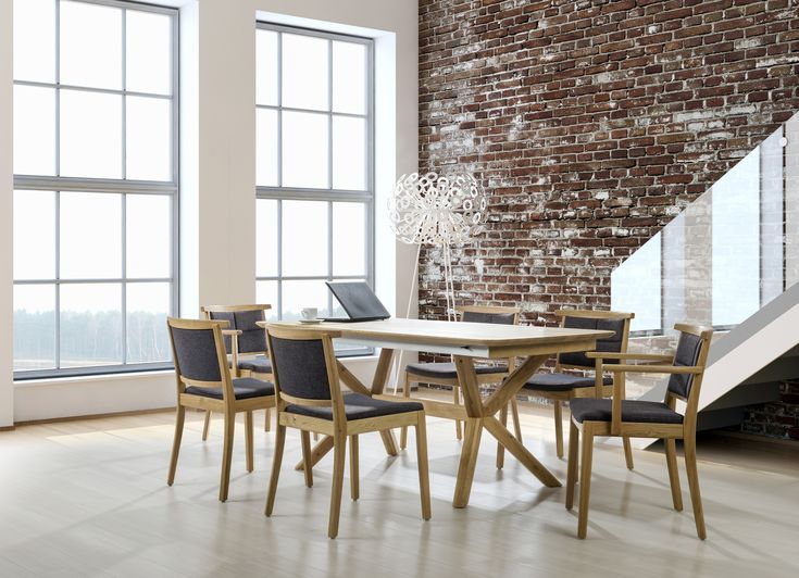 How to achieve perfect mix - industrial style with glamour. Modern chairs and T53 table made from hardwood, design by Klose.  #woodentable #diningroom #KloseFurniture