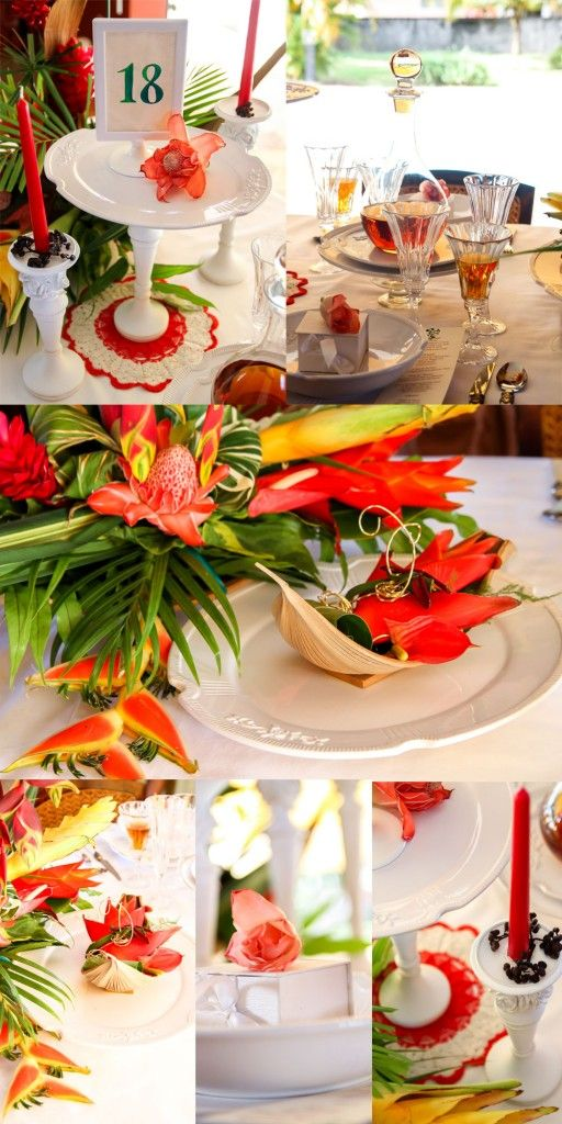 mariage-sur-une-ile. Décoration de table exotique en Guadeloupe