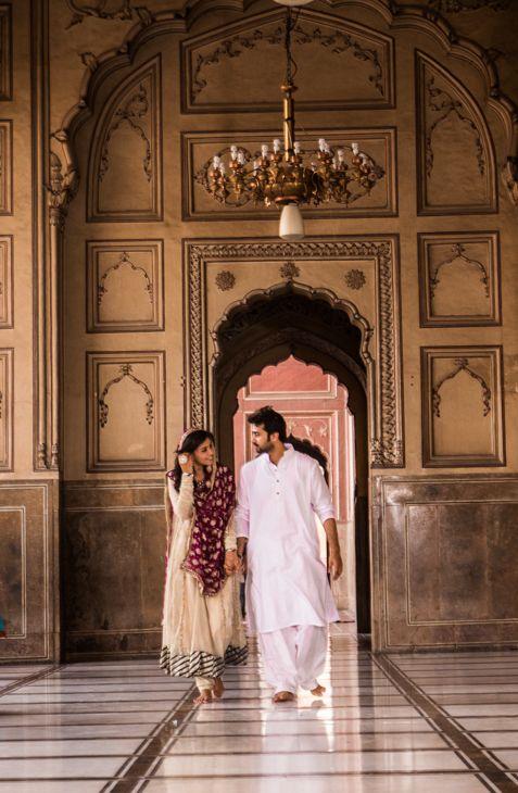 Beautiful Pakistani Couple at their Nikkah at Badshahi Mosque..White dress,Pakistani Bride