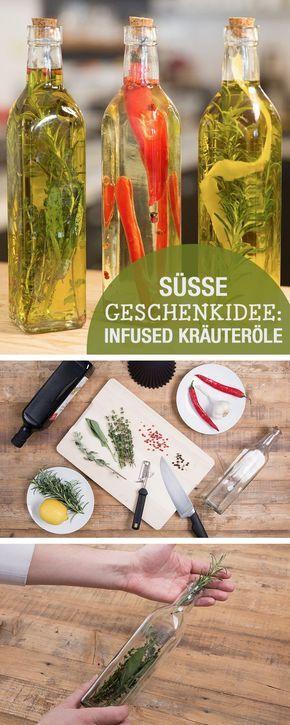 Kochtipp für Kräuteröle: Öl selbermachen, ideal als Geschenk aus der Küche / recipe idea for infused herb oils, kitchen ideas via DaWanda.com