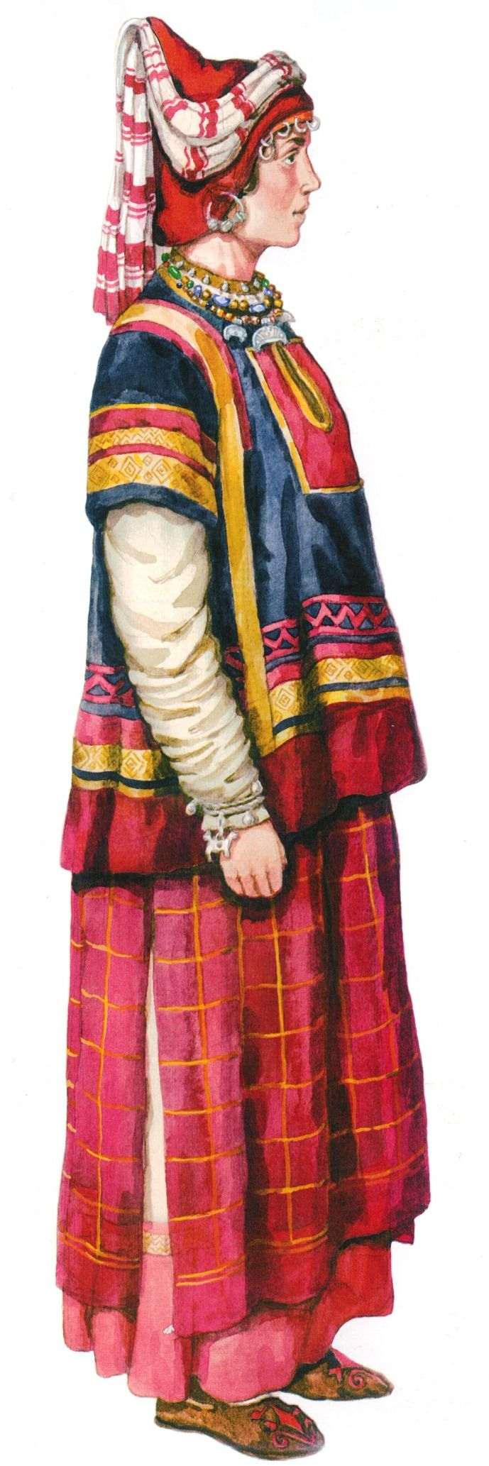Woman's festive clothes in medieval Russia. VI - IX centuries. #medieval #history #Russian #costume