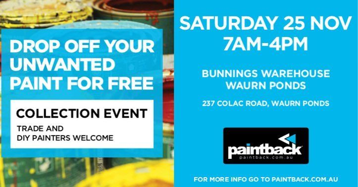 Paintback Pop-Up collection event is on today in WAURN PONDS (VIC) on Saturday 25th November from 7AM to 4PM at Bunnings Warehouse Waurn Ponds store. All welcome for more info visit Paintback.com.au #hopetoseeyouthere #paintback #tradepainters #diypainters #painters #collectionevent #environment #responsible #freetodropoff #vic #bunnings #warunponds #bunningswarehouse #geelong #victoria #colac #wastepaint #recycle #sustainability
