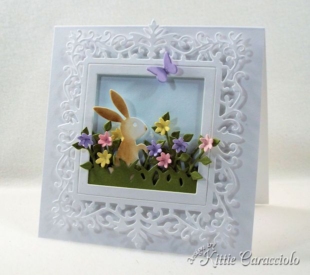 Easter Bunny Spring Scene with Flowers