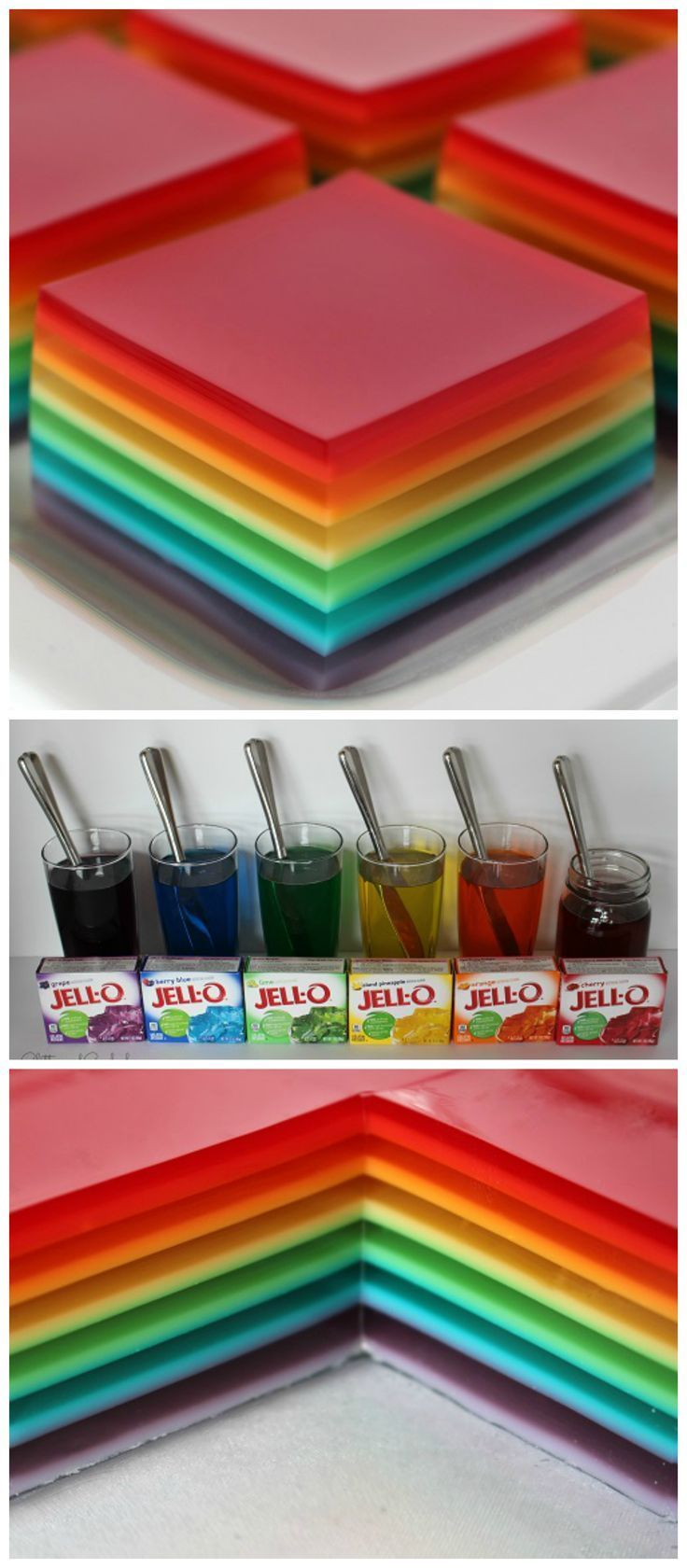 Rainbow jello jigglers for st. Patrick's day! Such a cute treat for kids.