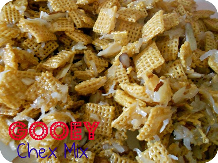 Check out Gooey Almond and Coconut Chex Mix. It's so easy ...