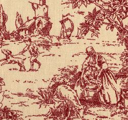 red toile curtains - Google Search